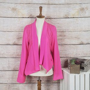 Skies are Blue Pink Asymmetrical Lace Blazer M